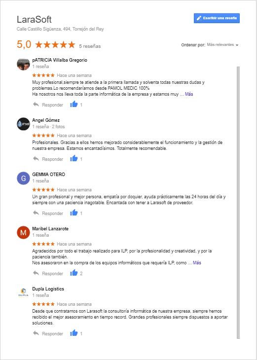 ReseñasGoogle_LaraSoft