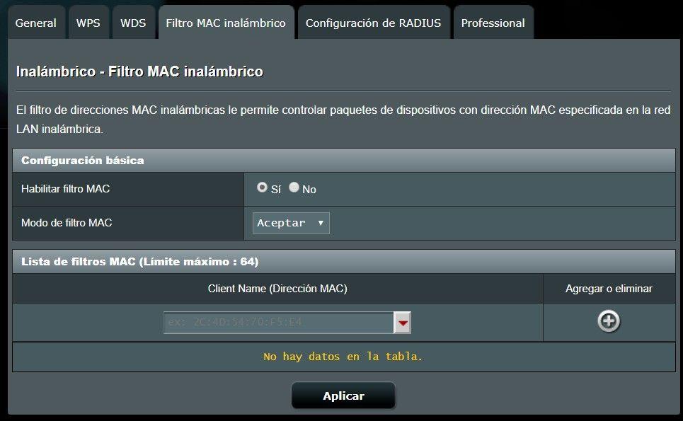Creación de un filtro por MAC en la conexión wifi